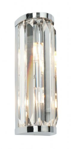 Chrome effect plate & clear crystal (k9) glass IP44 Wall Light BX39629-17  (Double Insulated)